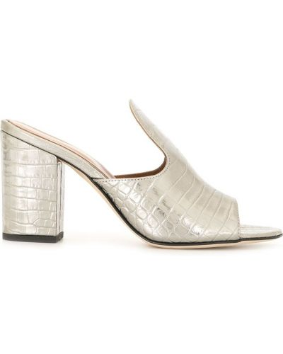 Кожаные серебряные мюли на каблуке с тиснением Paris Texas