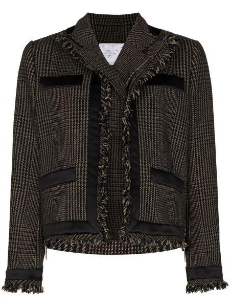 Шерстяной пиджак в клетку с бахромой Sacai