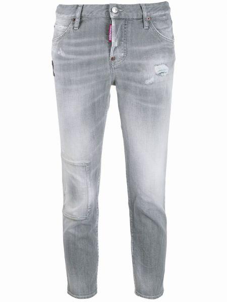 Серые укороченные джинсы с заклепками с поясом в стиле бохо Dsquared2