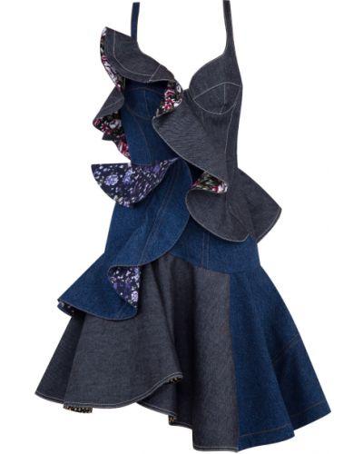 Платье с цветочным принтом пэчворк Alexander Mcqueen