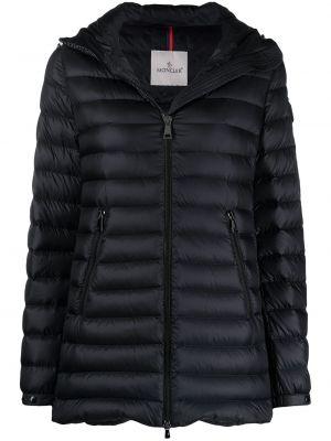 Z rękawami czarny długa kurtka z kapturem Moncler