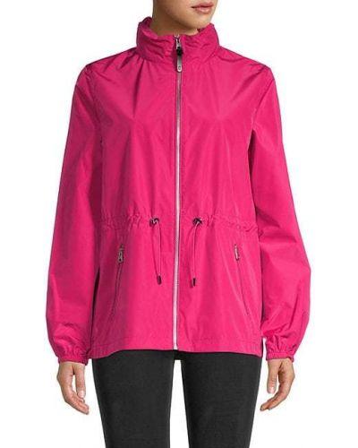 Розовая длинная куртка с капюшоном с воротником Mackage