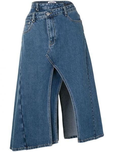 Черная классическая асимметричная джинсовая юбка с разрезом Ground Zero
