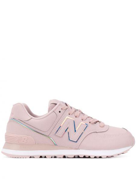 Кожаный розовый кружевная топ на шнуровке New Balance