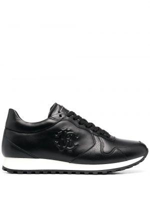 Кожаные черные кроссовки на шнуровке Roberto Cavalli