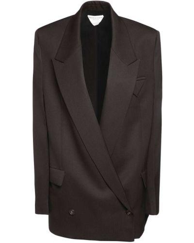 Коричневый пиджак оверсайз с карманами Bottega Veneta