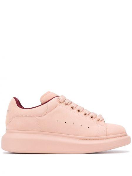 Skórzany różowy skórzane sneakersy zasznurować okrągły Alexander Mcqueen