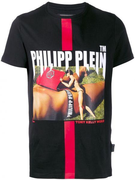 Czarny t-shirt bawełniany z printem Philipp Plein