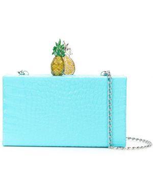 Акриловая синяя сумка на цепочке прямоугольная Edie Parker