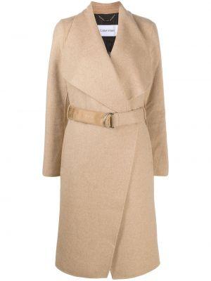 Шерстяное пальто классическое двубортное с поясом Calvin Klein