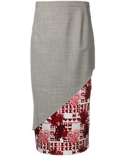 Черная приталенная ажурная юбка макси Snow Xue Gao