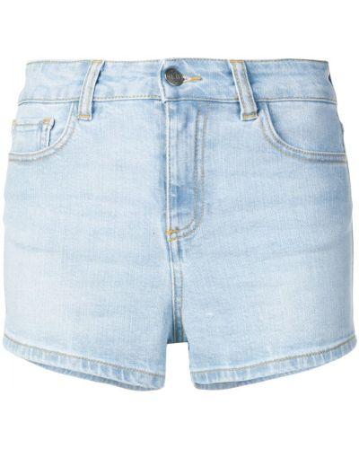 Синие джинсовые шорты с карманами со стразами Amen