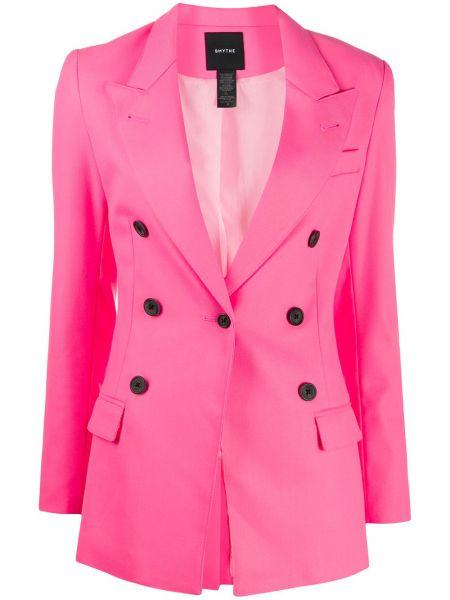 Розовый удлиненный пиджак двубортный на пуговицах Smythe