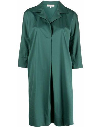 С рукавами зеленое платье-рубашка с V-образным вырезом Antonelli