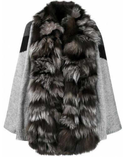 Серое шерстяное длинное пальто S.w.o.r.d 6.6.44