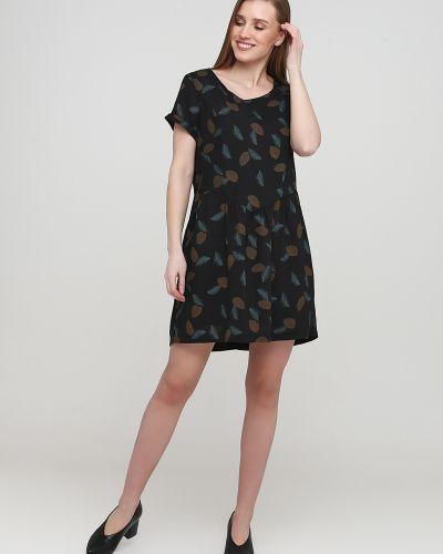 Черное платье с вырезом с короткими рукавами Frnch