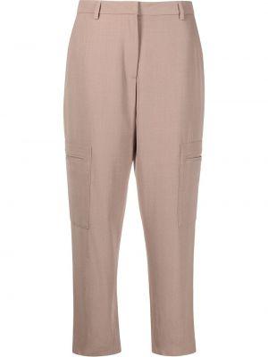 Różowe spodnie wełniane z paskiem Fabiana Filippi