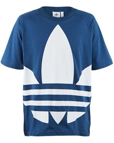 Хлопковая синяя футболка Adidas Originals
