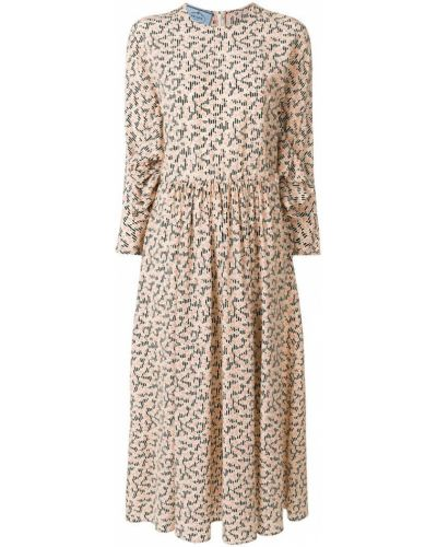 Платье миди платье-солнце с длинными рукавами Prada