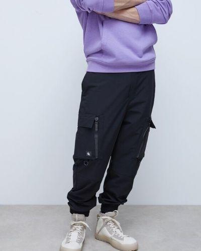 Брюки карго с накладными карманами - черные Zara