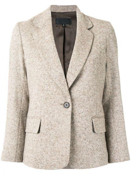 Шерстяной коричневый удлиненный пиджак с нашивками Nili Lotan