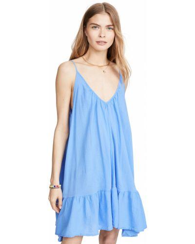 Открытое синее платье мини с открытой спиной 9seed