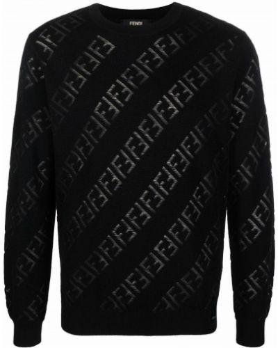 Черный джемпер длинный Fendi