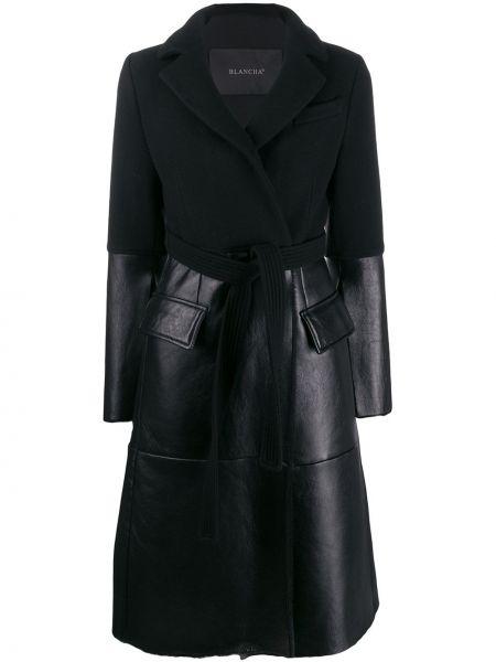 Черное кашемировое пальто классическое с капюшоном Blancha