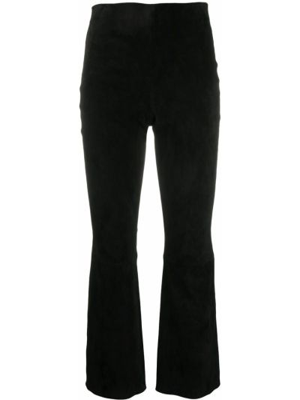 Расклешенные кожаные черные укороченные брюки Theory