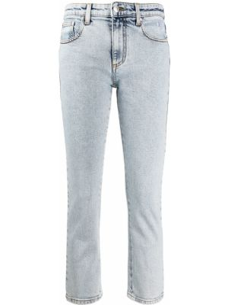 Синие укороченные джинсы на пуговицах с поясом в стиле бохо Msgm