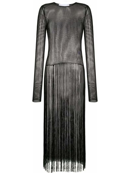 Z rękawami czarny tunika z długimi rękawami frędzlami okrągły Helmut Lang