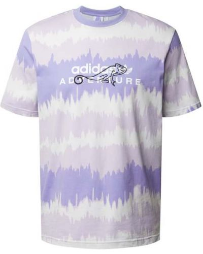 Fioletowy t-shirt bawełniany z haftem Adidas Originals