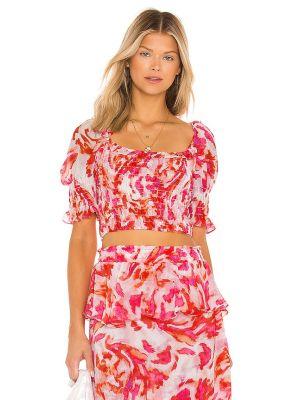 Текстильный розовый топ с декольте Misa Los Angeles