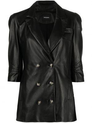 Черная кожаная длинная куртка двубортная Simonetta Ravizza