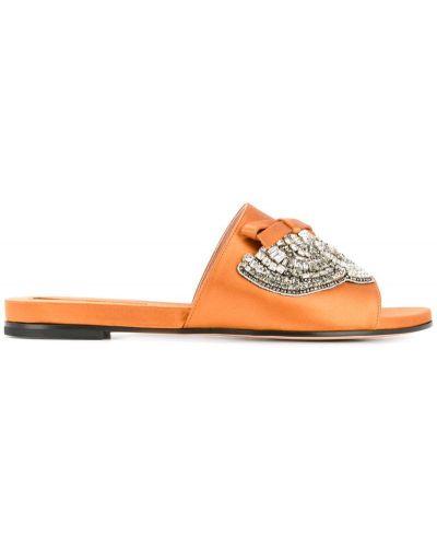 Оранжевые сандалии со стразами Rochas