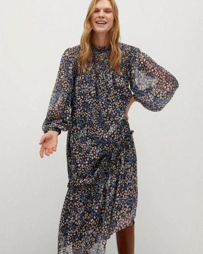 Прямое синее платье Mango