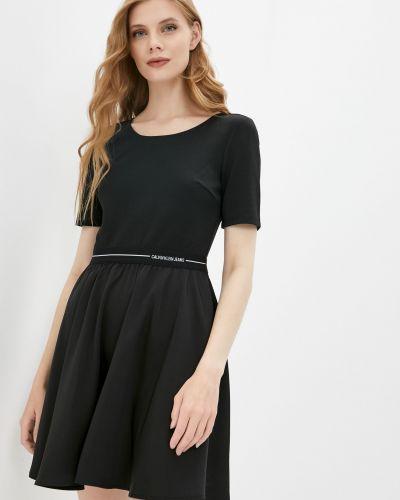 Платье мини атласное - черное Calvin Klein Jeans