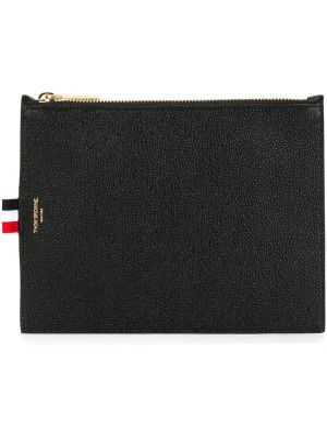 Czarny portfel skórzany oversize Thom Browne