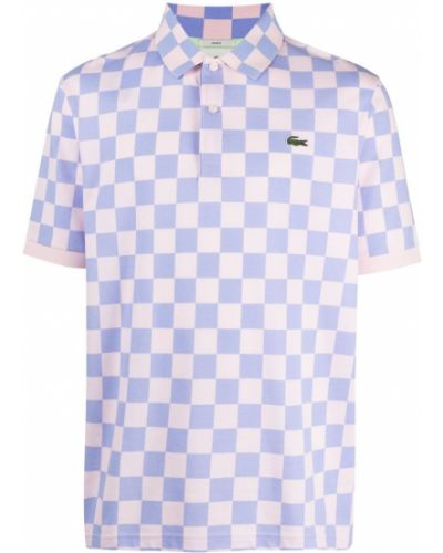 Niebieska koszula krótki rękaw bawełniana Lacoste