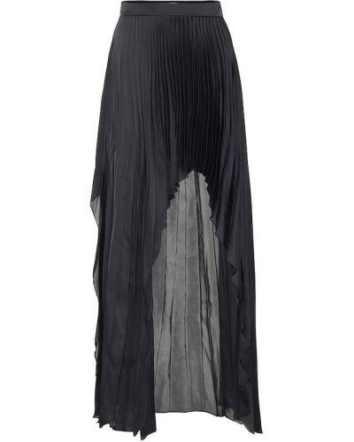 Сатиновая черная плиссированная юбка Stella Mccartney