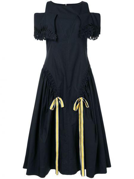 Платье миди с открытыми плечами - синее Fendi