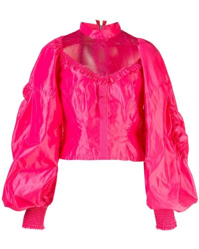 Розовый ажурный топ с воротником Dilara Findikoglu