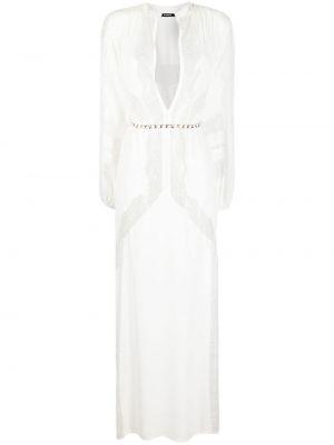 Белое платье макси с вырезом из вискозы Amen.