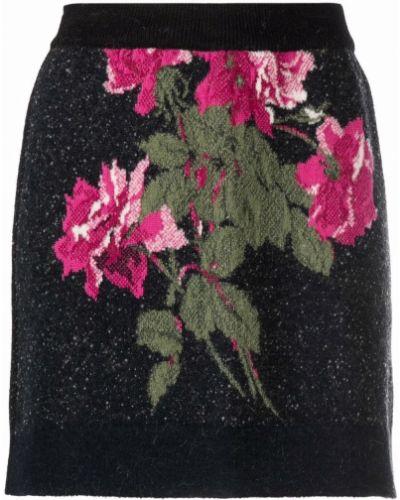 Шерстяная юбка мини - черная Blumarine