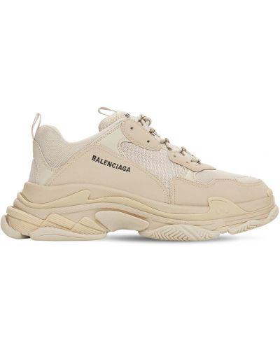 Beżowe sneakersy koronkowe sznurowane Balenciaga