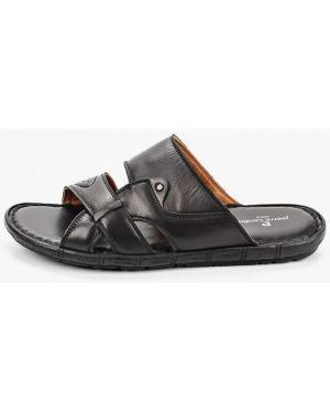 Кожаные сандалии - черные Pierre Cardin