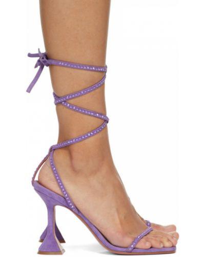 С ремешком фиолетовые кожаные сандалии Amina Muaddi