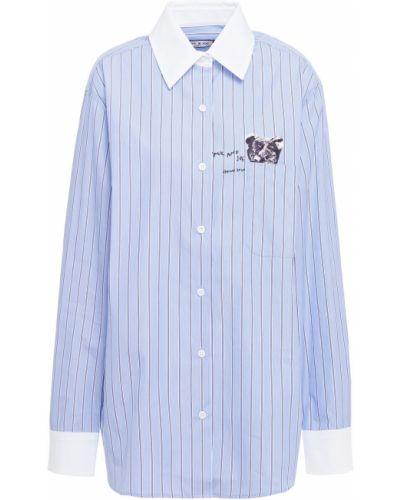 Хлопковая синяя рубашка в полоску Paul & Joe