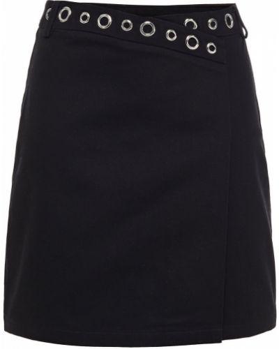 Хлопковая черная юбка мини с поясом Maje