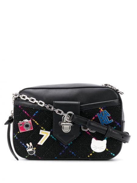Кожаная сумка через плечо на цепочке Karl Lagerfeld